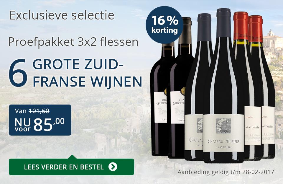 Proefpakket 6 grote Zuid-Franse wijnen (85,00) - blauw