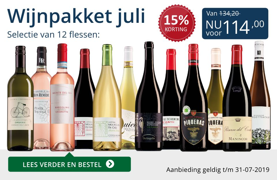 Wijnpakket wijnbericht juli 2019 (114,00)- blauw